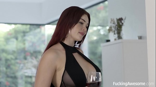 Busty Redhead Babe like big cocks in her beautiful shaved pussy