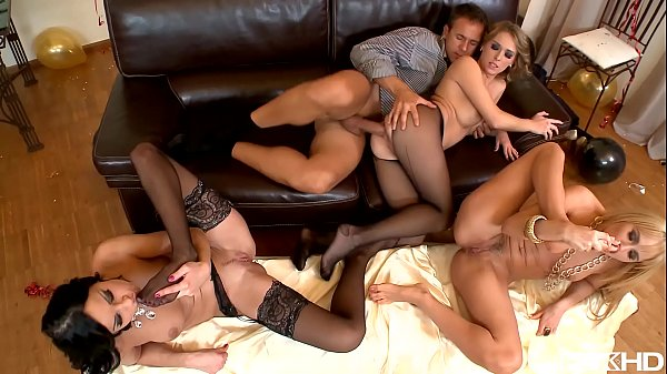 Body sushi New Year's Eve orgy with three amazing babes